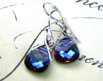 Briolette Crystal Earrings in Heliotrope- Purple and Blue - Swarovski Crystal and Sterling Silver