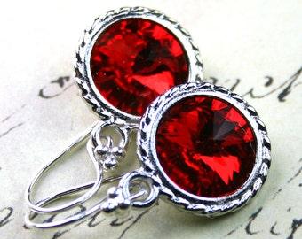 Siren Red Swarovski Rivoli Crystal Earrings - Light Siam Red - Swarovski Crystal and Bali Sterling Silver Earwires