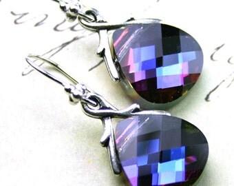 Swarovski Briolette Crystal Earrings in Heliotrope - Purple Blue - Swarovski Crystal and Sterling Silver