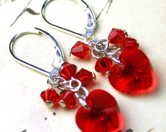 ON  SALE- The Crystal Heart Earrings In Siren Red - Swarovski Crystal and Sterling Silver Red Heart Earrings - Silver Lever Backs