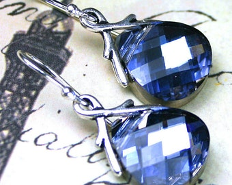 ON SALE - Sapphire Blue Briolette Crystal Earrings -  Maliblue Crystal Earrings - Handmade with Swarovski Crystal and Sterling Silver