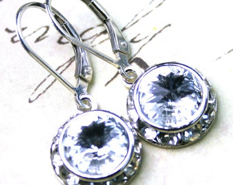Halo Crystal Earrings in Crystal Clear - Bridal Earrings - Swarovski Crystal and Sterling Silver Leverbacks