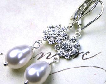 ON SALE - Pearl Earrings - Long Swarovski Crystal Pearl and Crystal Flower Earrings - Bridal - Swarovski Crystal and Sterling Silver