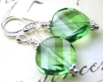 ON SALE - Green Apple Swarovski Crystal Twist Bead Earrings - Peridot Crystal Earrings - Handmade with Sterling Silver