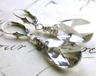 Swarovski Crystal Teardrop Earrings in Silver - Silver Grey Swarovski Crystal with Sterling Silver Leverbacks