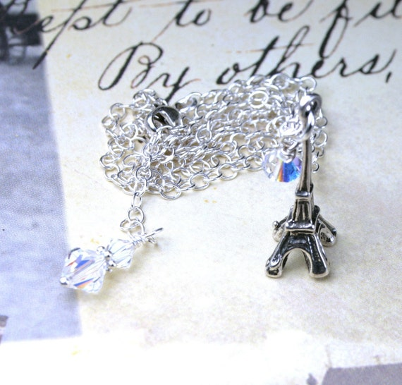 ON SALE- Eiffel For You Necklace - Eiffel Tower Charm Pendant - All Sterling Silver and Swarovski Crystal - Eiffel Tower Necklace