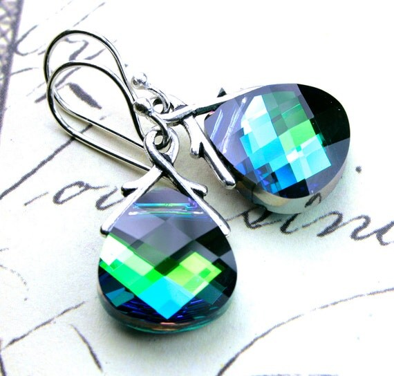 Blue Pecock Crystal.Earrings - Swarovski  Crystal Briolette Earrings in Aqua Sphinx - Swarovski Crystal and Sterling Silver