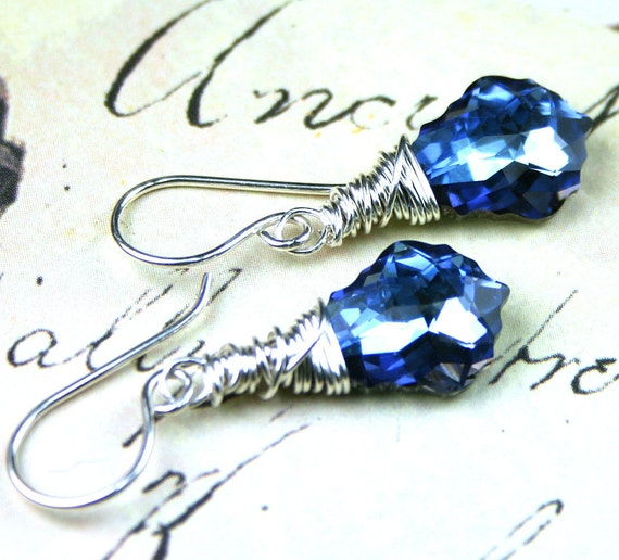 Swarovski Crystal Baroque Earrings in MaliBlue - Sapphire Blue Swarovski Crystal Wire Wrapped with Sterling Silver - Free US Shipping