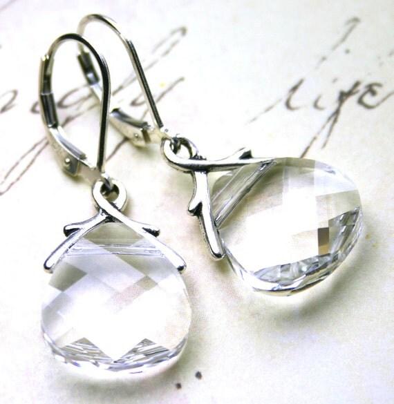 Swarovski Briolette Crystal Earrings in Crystal Clear - Bridal Earrings - Swarovski Crystal and Sterling Silver - FREE SHIPPING