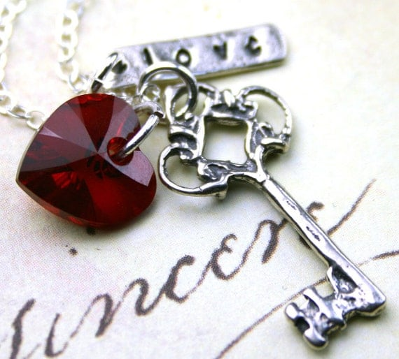 Love is the Key Necklace - Scarlet Crystal Heart, Silver Key, and Love - Swarovski Crystal and Sterling Silver