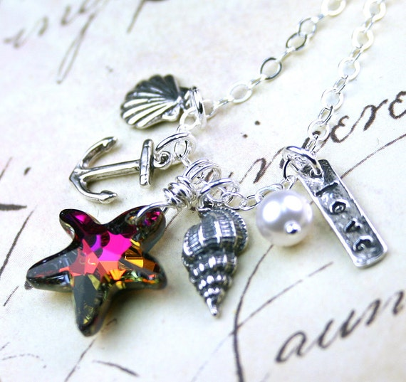The Huntington Beach Necklace - Charms of the Ocean - Swarovski Crystal and Sterling Silver - A Day At The Beach Necklace