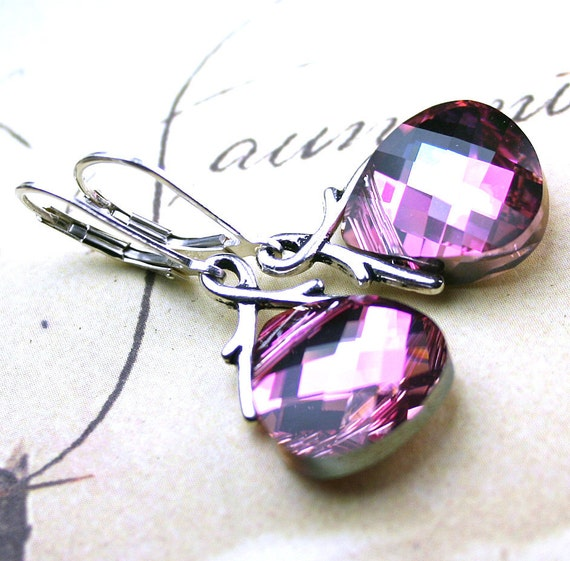 Unique Swarovski Briolette Crystal Earrings in Rose Pink and Lavender - Handmade with Swarovski Crystal and Sterling Silver- FREE SHIPPING