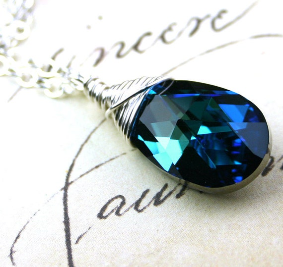 Swarovski Crystal Pear Pendant in Bermuda Blue - Swarovski Crystal Wire Wrapped with Sterling Silver - Free Shipping