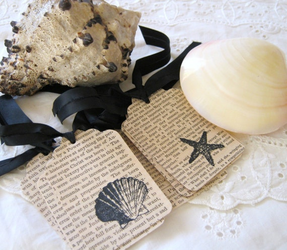 La Mer , Starfish and Scallop Gift Tag Set Handmade from Antique Papers