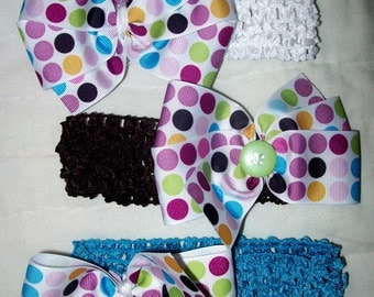 Dots Collection-Boutique Bow on Crochet Headband