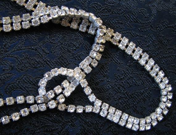 1940s Rhinestone Choker / Necklace - Unusual Art Deco Design