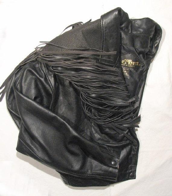ARTPEL Vintage Soft Black Leather Western Fringed Cowgirl Jacket Cropped & Tapered Waistcoat