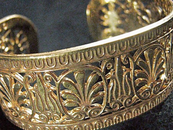 Vintage Egyptian Motif Cuff Bracelet With Filigree Lotus Flowers