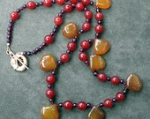 Yummy Yellow Chalcedony, Garnet and Carnelian Necklace