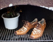 Sale - Beautiful vintage leather short cowboy boots size 38.5 EU, 5.5 UK, 8 US for a lady.