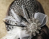 SALE Hair clip Guinea feather pad fascinator art deco style, ivory, black, pearl, rhinestone, silver, netting, tulle, dots