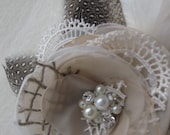 Vintage Rustic Wedding bridal fascinator Hair clip Flower Rose burlap champagne Beige Pearls rhinestone Ivory lot Lace tulle Feather