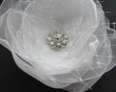 HUGE SALE Wedding headpiece light organza bridal Ivory hair flower Hairclip rhinestone rhinestone tulle Rose bridal  accessory
