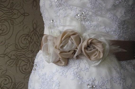 Bridal dress sash, corsage, ribbon, belt, 3 flowers, Ivory, Beige, Cream,  Feathers