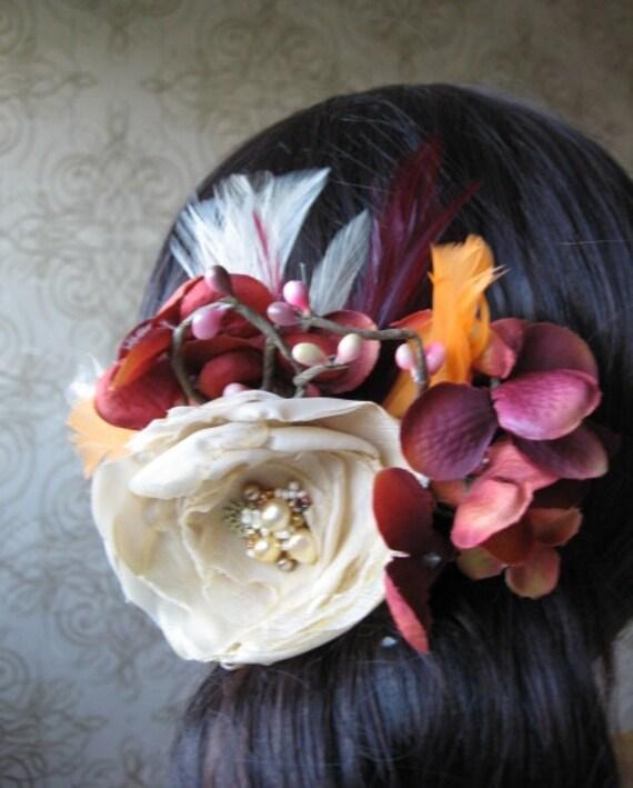 Hair clip Rose Flower Beige Cream Peach Brown Gold Orange Burgundy hydrangea pearls feather netting tulle fascinator