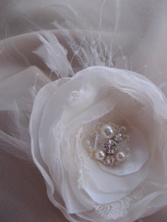 SALE Ivory bridal flower wedding hair clip lace, rhinestone, glass pearls, french / russian tulle, feathers Flower Rose