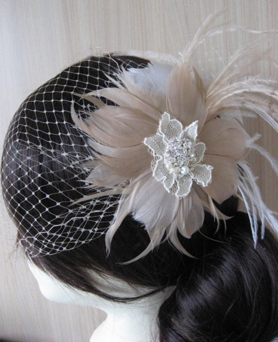 Vintage Wedding feather Fascinator and veil bridal hairpiece rhinestone vintage lace pearl headpiece beige ivory taupe/blush