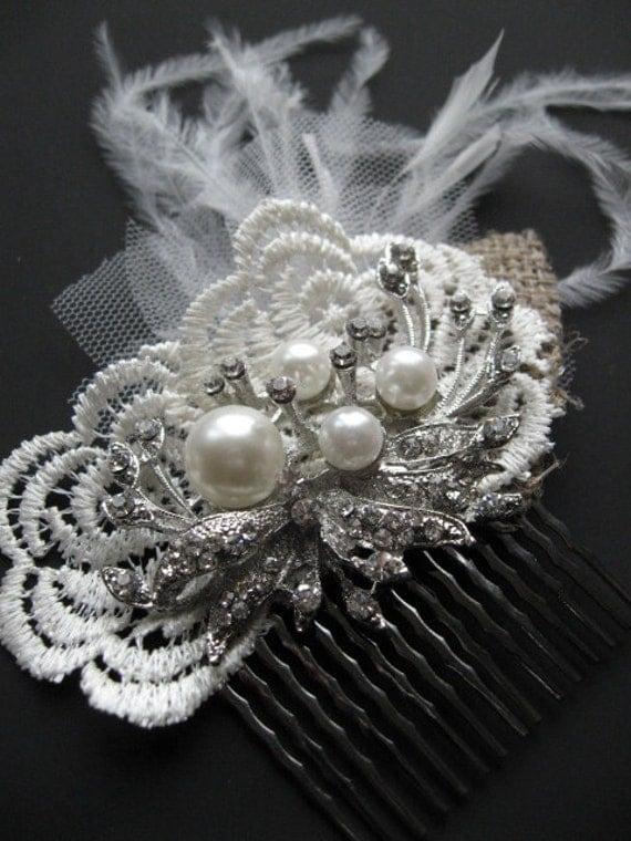 Bridal Rhinestone lace burlap fetaher Comb hairpiece fascinator  pearls ivory rustic vintage shabby chic weddings