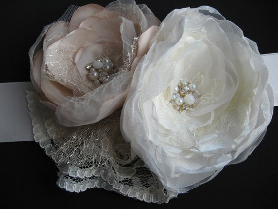Custom order for Morgan Sash Bridal , hairpiece and veil beige oversize nude latte blush ivory double 2 flower,