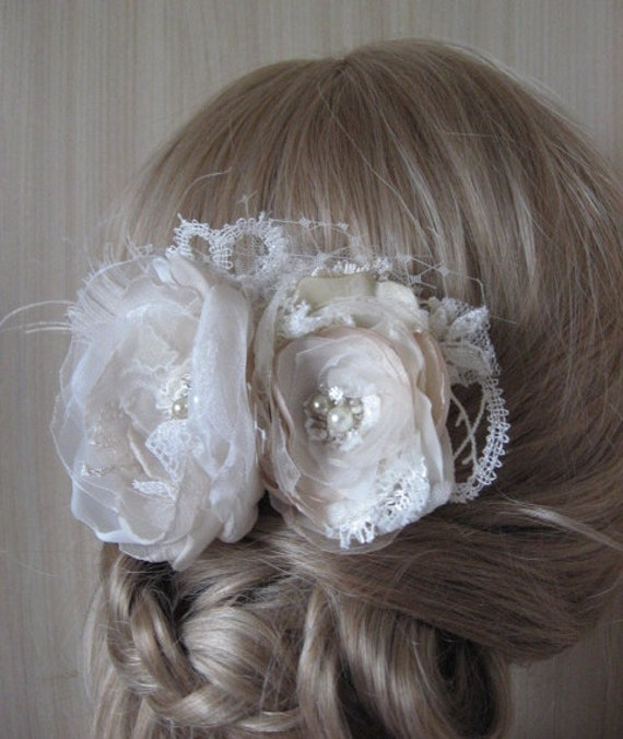 Wedding hairpiece Hair comb 2 Rose flowers Double  vintage rustic Ivory, Beige, silver, feather, netting, pearls, lot lace, rhinestone