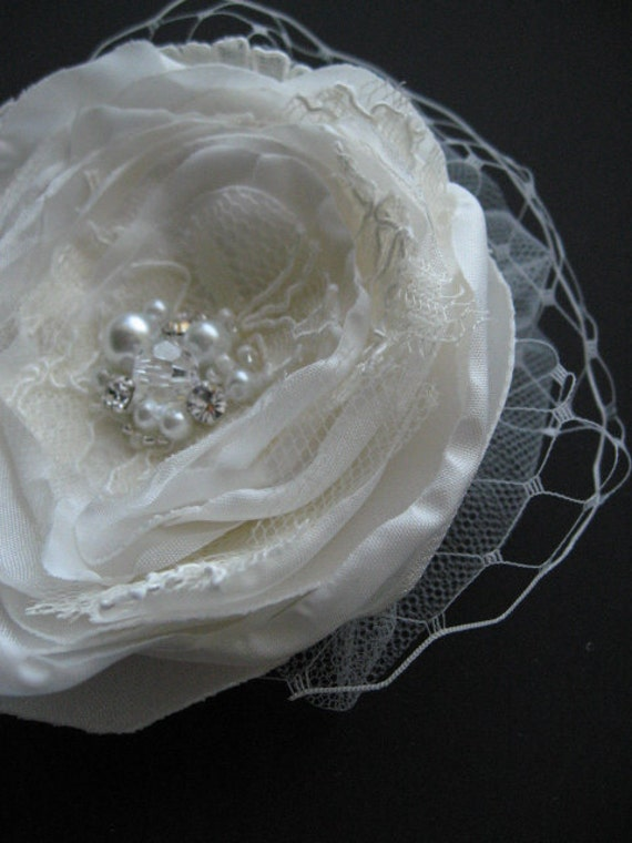 Ivory bridal hairpiece accessory wedding fascinator with veil tulle clip flower lace Camelia organza  french russian 4 inch oversize