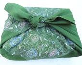Japanese Green Fabric Furoshiki.100% Eco Friendly.60s