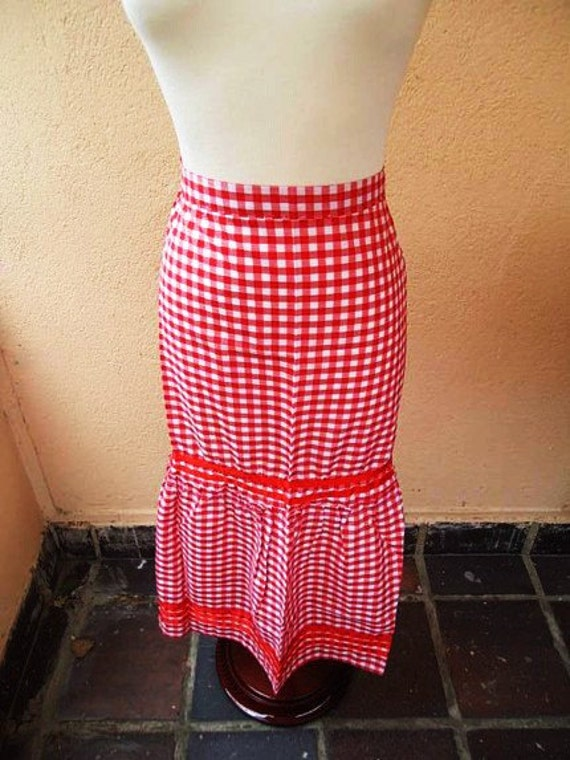 Handmade Vintage Apron - Spanish Style 1980s Red and White Gingham - Let's Cook