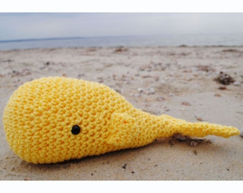 Woolie Whale Hand Crocheted Plushie - Yellow - Large