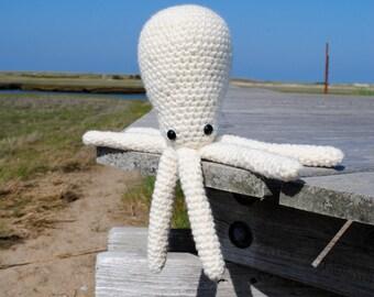 Woolie Octopus Hand Crocheted Plush - White