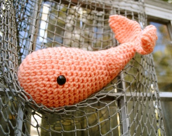 Woolie Whale Hand Crocheted Plush - Provincetown Peach - Small