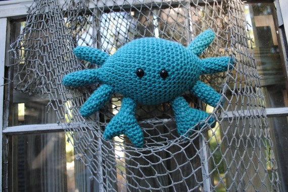 Woolie Blue Crab Hand Crocheted Plush