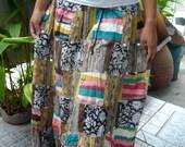 Maxi Skirt / Comfy long skirt /Incredibly soft/ Harem /Meditation skirt /Patch work /code C0010/USD 31/Ship USD 8