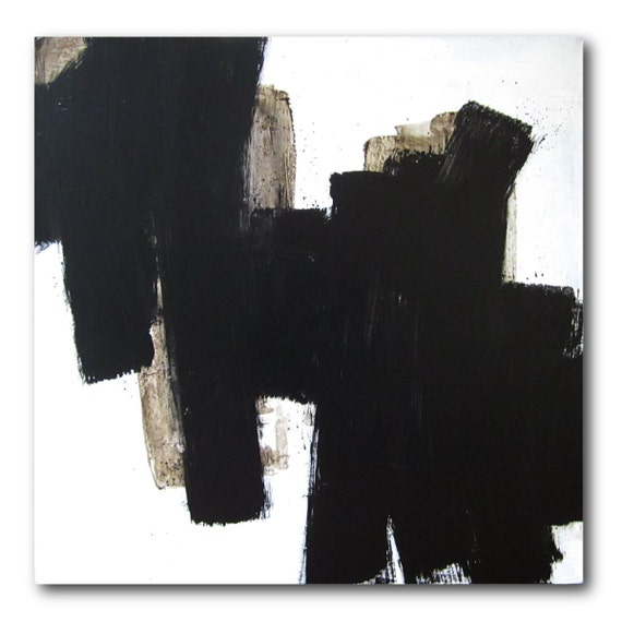 Black and White / 30x30 / Original Abstract Painting / Lacoste