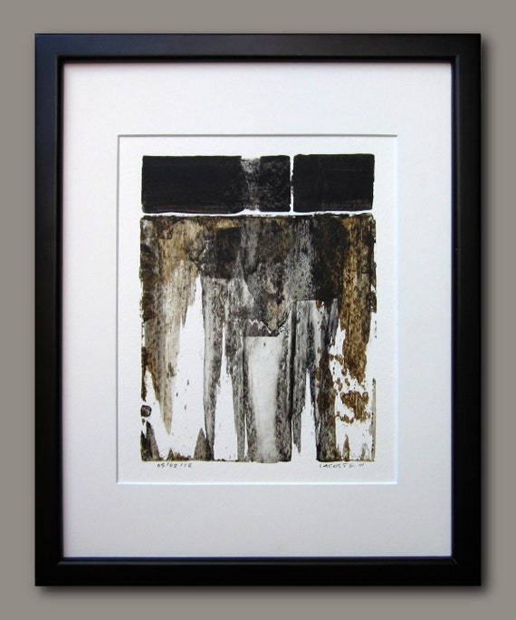 "Original Abstract Paiting on Paper / Black and White / 8"" x 10"" / Day 137 / By Edmond Lacoste"