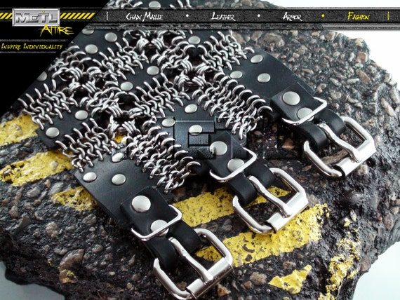 Men's Medieval Punk/ Industrial Chain Maille Armored Leather Bracer  - The Independence Bracer -