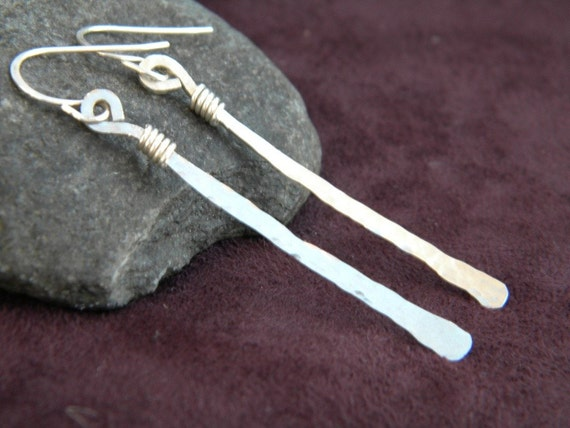 Recycled Sterling Silver Artisan Made Earrings - Hammered  Stick Dangles with Wire Wrapped Accent, on Hand Made Ear Wires