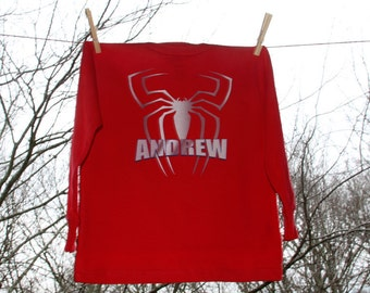 Personalized Steel Spider Superhero Birthday Shirt- Name &Number Longsleeve