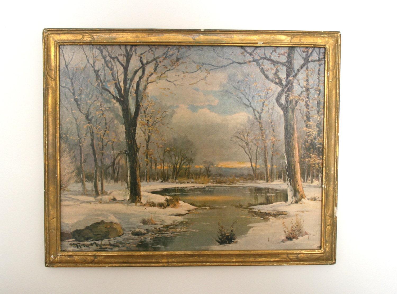 Vintage Framed Robert Wood Winter Art Print