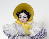 Wooden Dollhouse Doll in Lavender and Yellow, 1830's Romantic Era