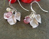 Petite Triple Leaf Pink Topaz Earrings